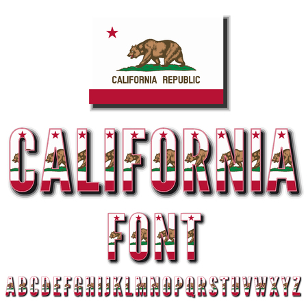 California USA state flag font. Alphabet, stylized by state flag. Vector typeset