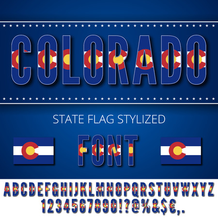 flag of colorado: Colorado National Flag stylized Font. Alphabet and Numbers in Vector Set