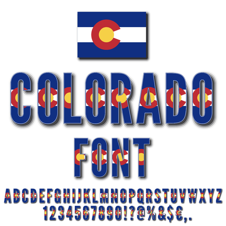 Colorado National Flag stylized Font with shadows. Alphabet and Numbers in Vector Set