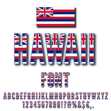 Hawaii Usa State Flag Font Alphabet Numbers And Symbols Stylized