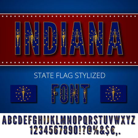Indiana USA state flag font. Alphabet, numbers and symbols stylized by state flag. Vector typeset