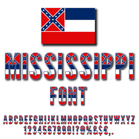 commonwealth: Mississippi USA state flag font with shadows. Alphabet, numbers and symbols stylized by state flag. Vector typeset