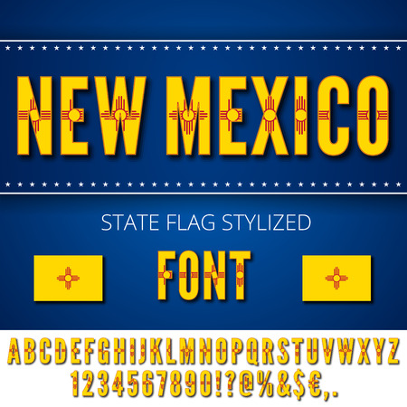 New Mexico Usa State Flag Font Alphabet Numbers And Symbols
