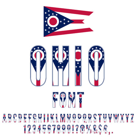 Ohio USA state flag font. Alphabet, numbers and symbols stylized by state flag. Vector typeset