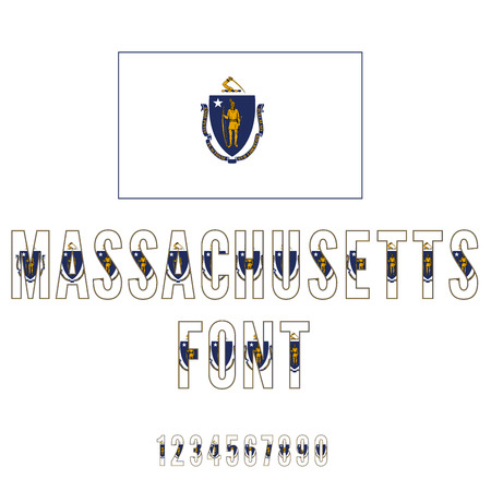 massachusetts: Massachusetts USA state flag font. Numbers and symbols stylized by state flag. Vector typeset