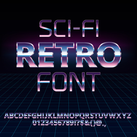 Sci-Fi retro font 版權商用圖片 - 68580905