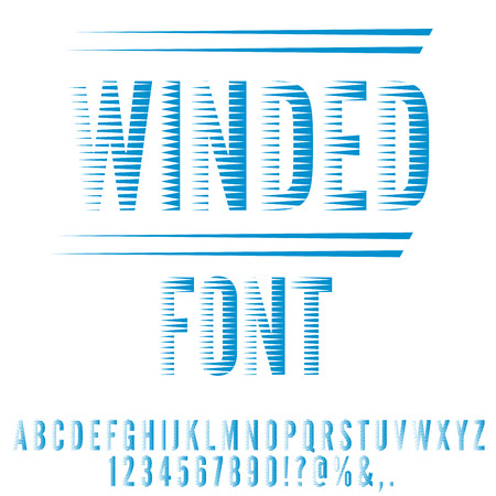 brindled: Winded stylized, blue colored retro 80 stripped looks font. Vector set Illustration