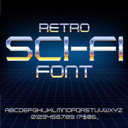 retro: Retro Future Font Illustration