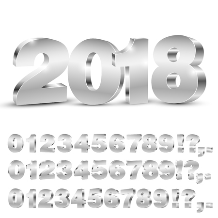3D vector numbers Ilustração