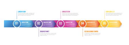 Infographics Arrows Plantilla 5 pasos Ilustración de vector