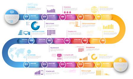 Infographics arrow tijdlijn hystory template