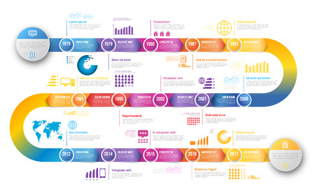 Infographics arrow timeline hystory template 矢量图像