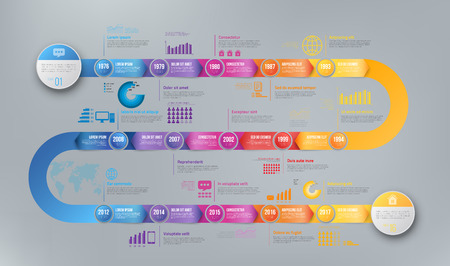 Infographics arrow timeline hystory template Foto de archivo