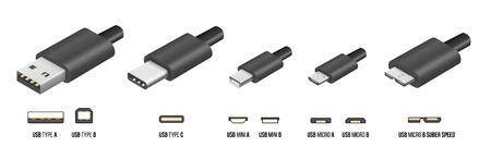 Die meisten standart USB Typ A, B und Typ C-Stecker, Mini, Mikro, Universal Computer-Kabel-Anschlüsse, Vektor-Illustration Standard-Bild