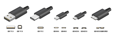 Most of standart USB type A, B and type C plugs, mini, micro, universal computer cable connectors, vector illustration