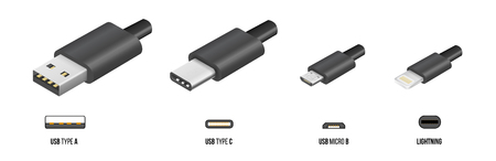usb cable: USB type A, and type C plugs, micro USB and lightning, universal computer cable connectors, vector illustration