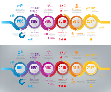 Infographics arrow timeline hystory template colorfull wobble line