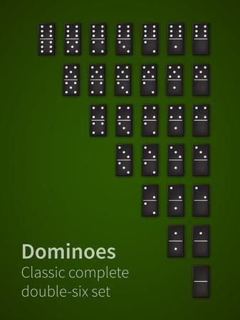double game: Dominoes bones set Illustration