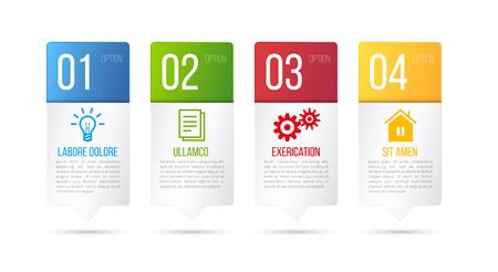 targets: 4 steps process infographics card vector design