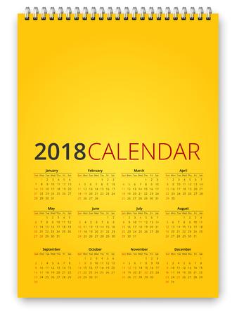 Calendar 2018 on yellow background, vector illustration.