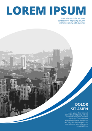 Blue Colored with rounds and elipse, modern business motion style cover design for booklet.