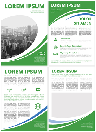 Green Colored with elipse, modern business motion style covers and inner pages inforgraphics design for booklet, brochure, annual report, proposal A4 format