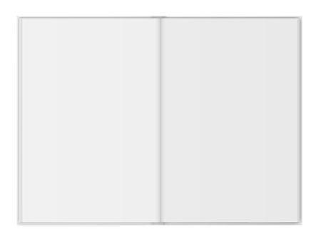 Open vector book illustration on white background.