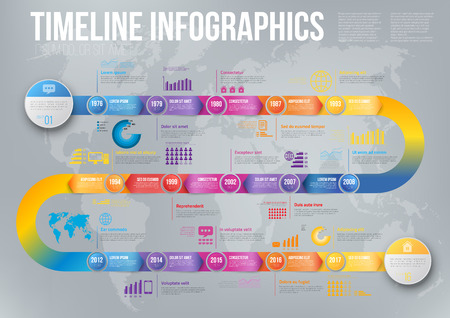 Infographics arrow timeline hystory template Vectores