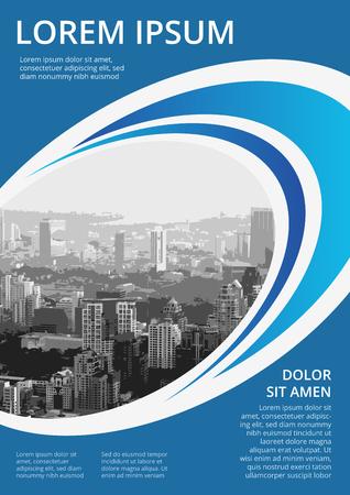 Couleur bleue avec des ronds et ellipse, conception de couverture de style de mouvement d'affaires moderne pour livret, brochure, rapport annuel, proposition format A4