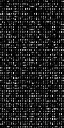 Binary Code Screen with black background.