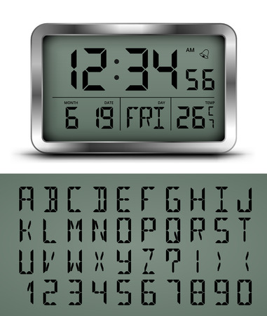 Vector realistic black and chrome digital clock and number set