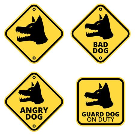 Collection d'étiquettes de signes de chien de danger. Jeu de vecteur EPS8