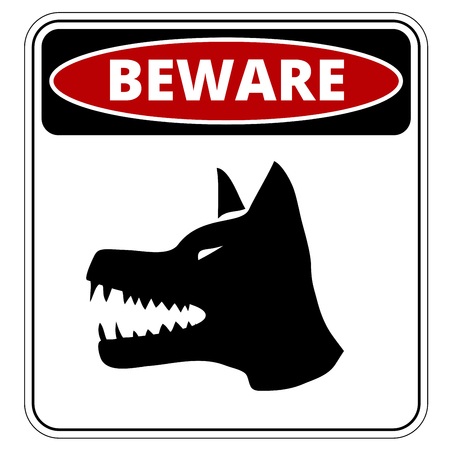 Angry Dog Red Danger Sign. Vector Illustration EPS8