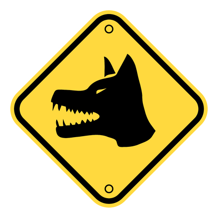 Angry Dog Yellow Danger Sign. Vector Illustration EPS8 Banque d'images - 118668794
