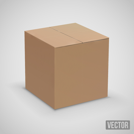 New brown cardboard boxes. Vector illustration set Ilustração
