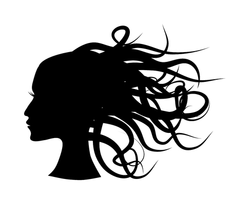 Thoughts of woman symbols - vector silhouette EPS8