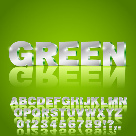 3D isometry alphabet vector Green colored font with alphabet letters and numbers