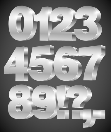 3D vector numbers, set from 0 to 9, metalic chrome on gray background Ilustração