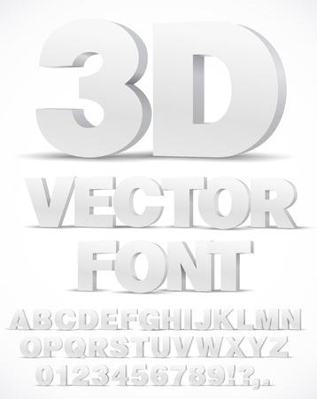 Czcionka wektorowa alfabetu 3D z literami typu i cyframi
