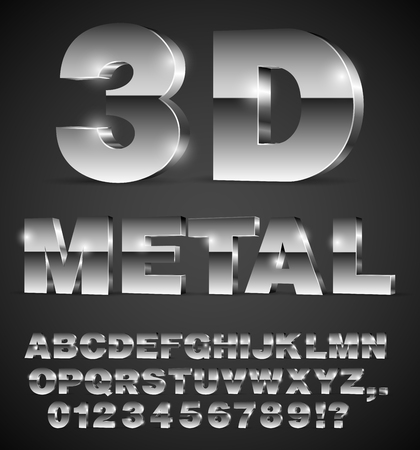 3D isometry alphabet vector black font with alphabet letters and numbers