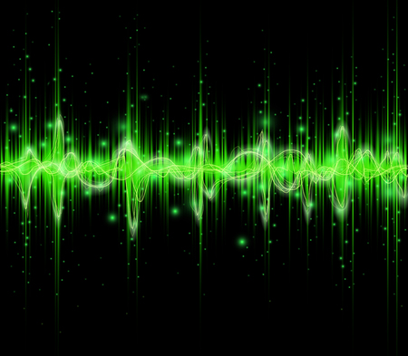 Green colored equalizer or waveform design, vector illustration of musical pulse