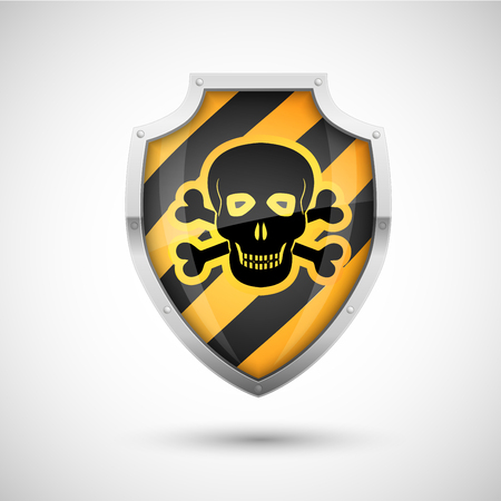 Black Yellow Style Vector Shield with danger skull sign, protection concept