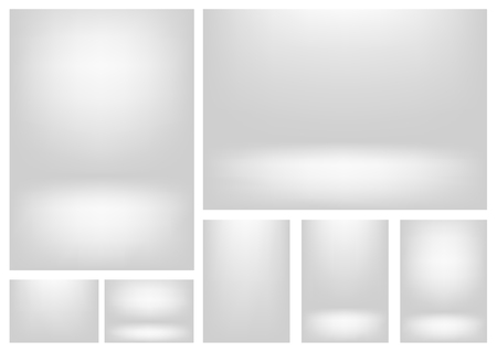 White gray gradients for creative project backgrounds or product presentation. Vector backdrop set