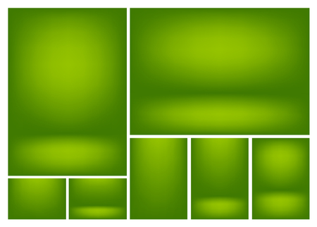 Set of clear empty studio light vector green backgrounds for product presentation, a4 format