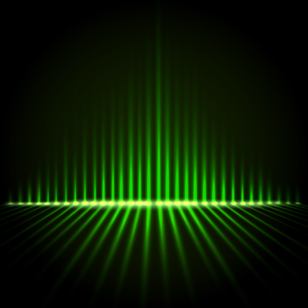 Techno green perspective equalizer, abstract technology vector background