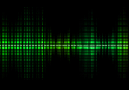 Green colored music sound waves for equalizer or waveform design, vector illustration of musical pulse