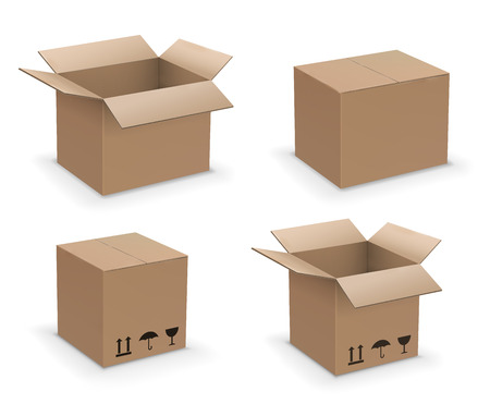 Ensemble de boîtes en forme de rectangle vectoriel, recycler ou emballer la collection de boîtes en carton brun, ouvertes, fermées et scellées