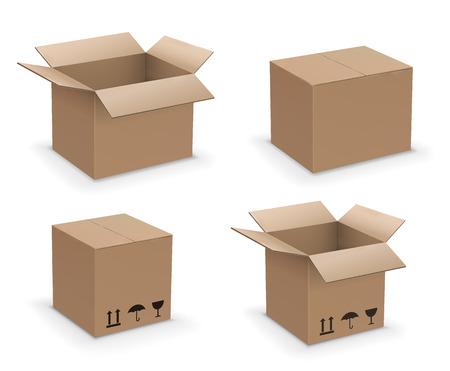 Set di scatole a forma di rettangolo vettoriale, raccolta di scatole di cartone marrone da riciclo o imballaggio, aperte, chiuse e sigillate
