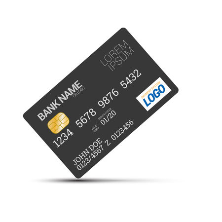 Plastic Bank Credit or Debit Card Vector Illustration on blank white background
