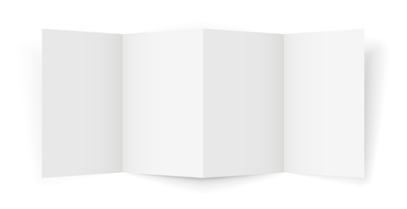 Four-Fold A4-A5 Brochure template, Realistic Vector Illustration with shadows on white background